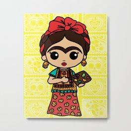 Frida Painting Reality Metal Print
