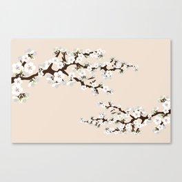 Japanese Sakura Cherry Blossoms (ivory/white) Canvas Print