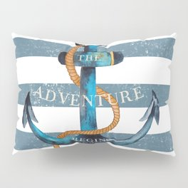 Maritime Design - Nautic Anchor on stripes in blue and red Pillow Sham