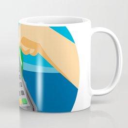Hand Swiping Credit Card on POS Terminal Retro Coffee Mug