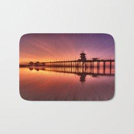 Sunset In Motion Huntington Beach Pier * Photo: Steve Berger Bath Mat