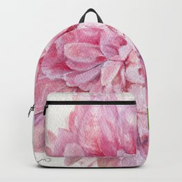 Pink Peony Floral Watercolor Detailed Botanical Garden Flower Realism Backpack