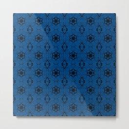 Lapis Blue Floral Geometric Pattern Metal Print