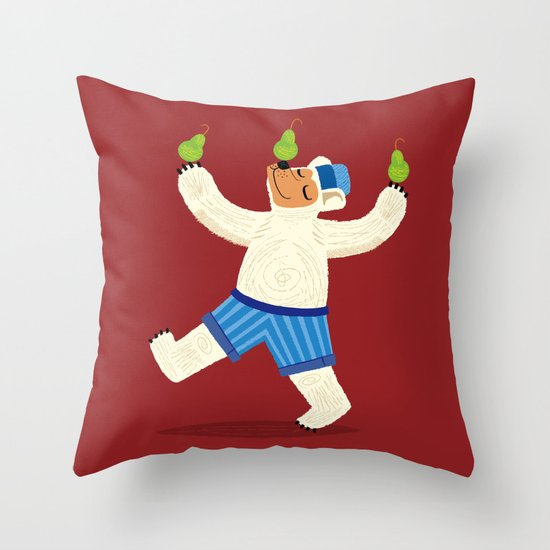 A Bear With Pears (colour variation) Throw Pillow