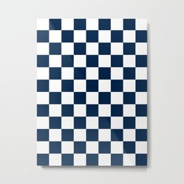 Checkered - White and Oxford Blue Metal Print