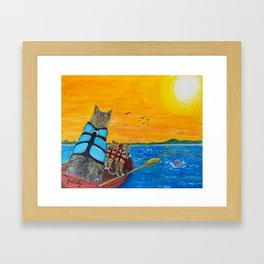 Cats in a boat watching dolphins Framed Art Print