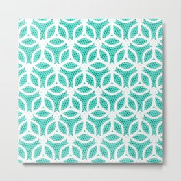 Bright Turquoise and White circle pattern Metal Print