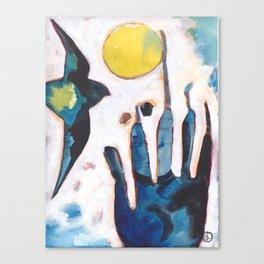 Bird and Hand Canvas Print
