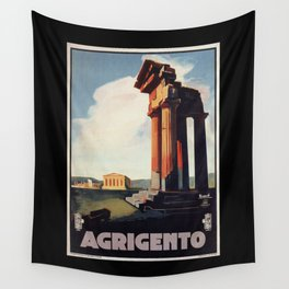 Vintage 1920s Agrigento Italian travel ad Wall Tapestry