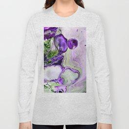 Colorful Purple Fluid Acrylic Pour Art - Digital Art Long Sleeve T-shirt