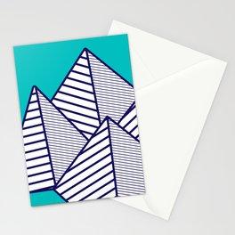 Paku Paku, navy lines on turquoise Stationery Cards