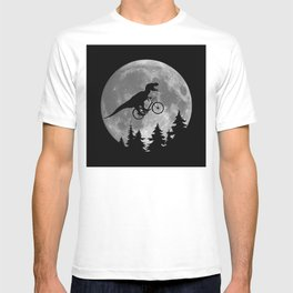 Biker t rex In Sky With Moon 80s Parody T-shirt