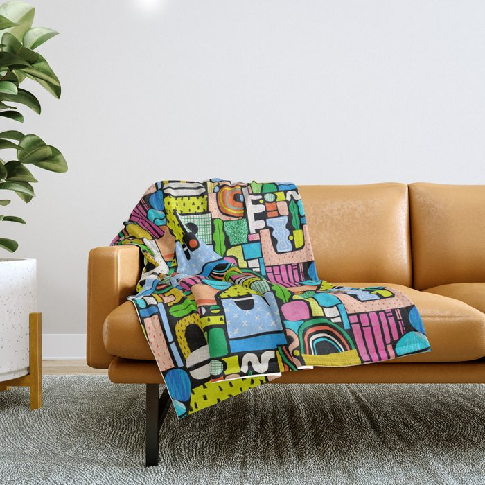 Color Block Collage Throw Blanket