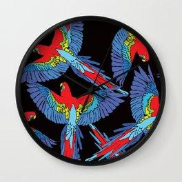 Rainforest Parrot Flock Toss Wall Clock