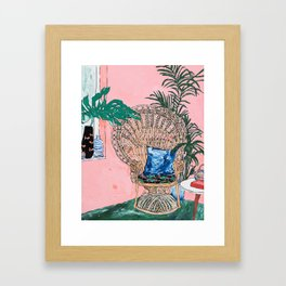 Peacock Chair in Pink Jungle Interior Framed Art Print