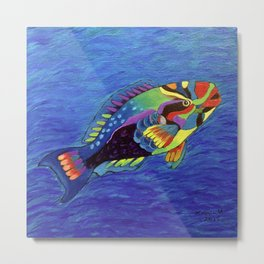 Rainbow parrot fish Metal Print