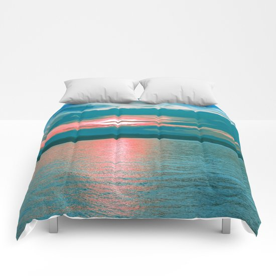 Sunset at Sea III Comforters