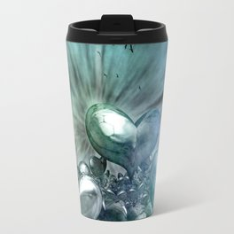 Lost Hearts in Blue, Digital Art Travel Mug