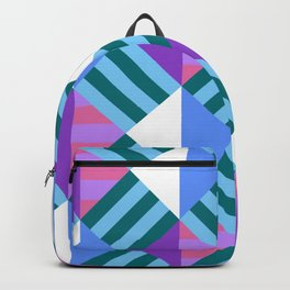 Geometric Block Stripes Pattern - Blue & Purple Backpack
