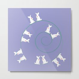 The Funny Bunnies in Lilac Metal Print