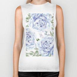 Pretty Indigo Blue Roses Garden Biker Tank