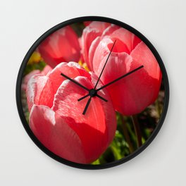 Pink Tulip Photography Print Wall Clock
