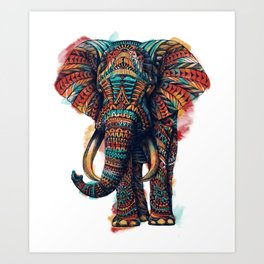 Ornate Elephant (Watercolor) Art Print