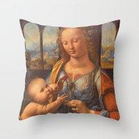 da vinci Throw Pillows featuring Leonardo da Vinci by Palazzo Art Gallery