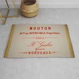 Vintage 1863 Mouton Bon de Rothschild Bordeaux Wine Bottle Label Print Rug