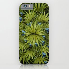 """El Bosco fantasy, tropical island blue butterflies"" iPhone Case"
