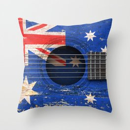 Old Vintage Acoustic Guitar with Australian Flag Throw Pillow