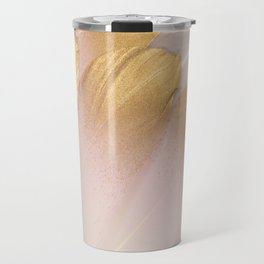 Gold Tipped Pink Feathers Travel Mug
