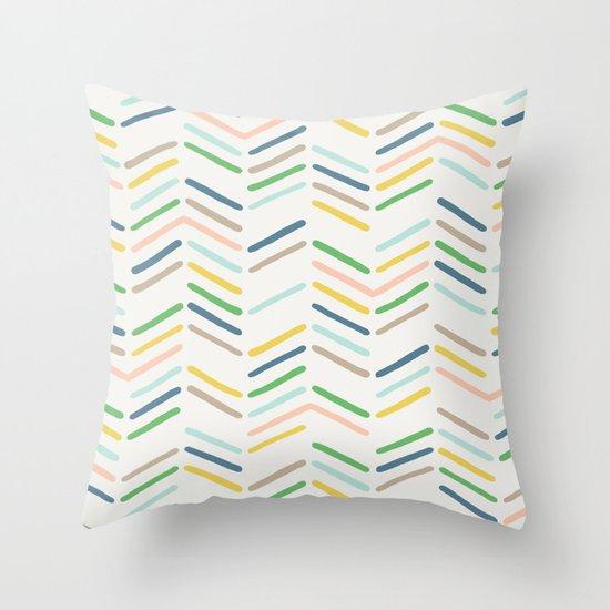 Mixed Herringbone - in Emerald Throw Pillow