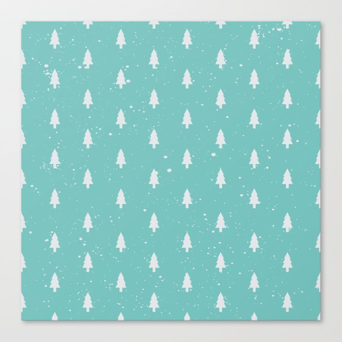 Christmas Trees Pattern Mint Canvas Print
