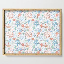 Under the sea watercolor pattern Serving Tray