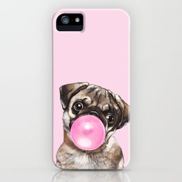 Pug with Pink Bubble Gum iPhone Case
