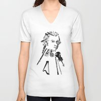 mozart V-neck T-shirts featuring Wolfgang Amadeus Mozart by bananabread