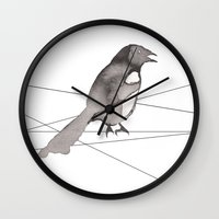 crow Wall Clocks featuring Crow by Dream Of Forest