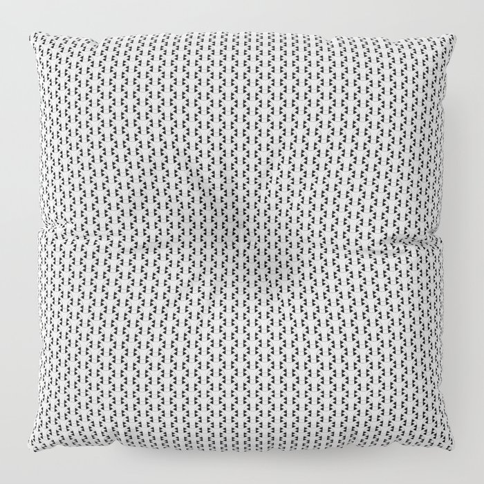 Black and White Basket Weave Shape Pattern 2 - Graphic Design Floor Pillow