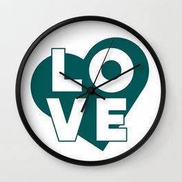 LOVE & heart // dark teal Wall Clock