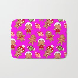 Cute decorative hygge pattern. Happy gingerbread men cookies and sweet xmas caramel toffee Bath Mat