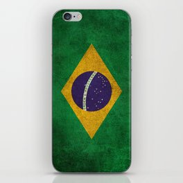 Old and Worn Distressed Vintage Flag of Brazil iPhone Skin