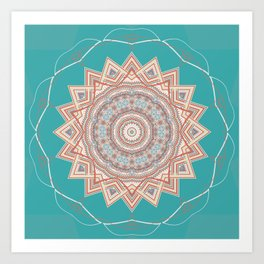Bright Aqua Star Mandala Design Art Print