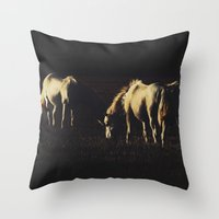 horses Throw Pillows featuring Horses by Ni.Ca.