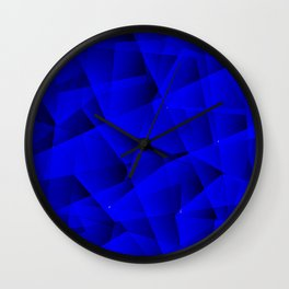 Repetitive overlapping sheets of gloomy blue paper triangles. Wall Clock