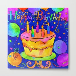 Happy Birthday Celebration with Balloons, Streamers, Cakes in Bright Colors on Blue Metal Print