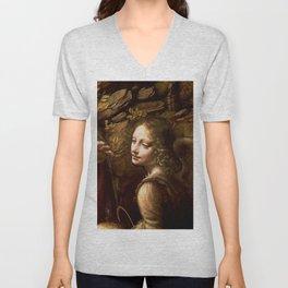 "Leonardo da Vinci Angel in ""The Virgin of the Rocks (London)"" Unisex V-Neck"