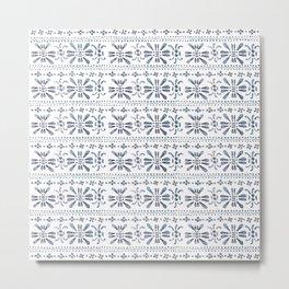 Indigo Pattern Metal Print
