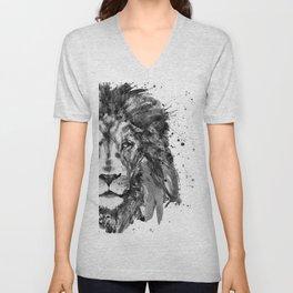 Black And White Half Faced Lion Unisex V-Neck