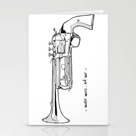 Make music, not war. Stationery Cards